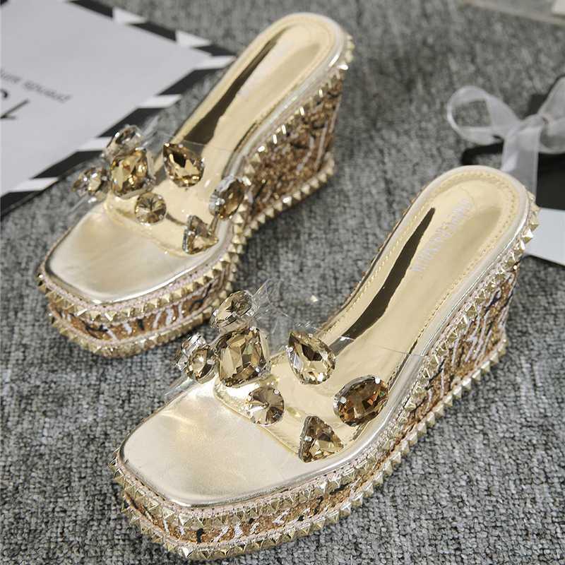 2020 estate delle donne cunei 10 centimetri tacchi alti sandali argento diapositive Sparkly Paillettes trasparente 4cm di cristallo Platform Shoes