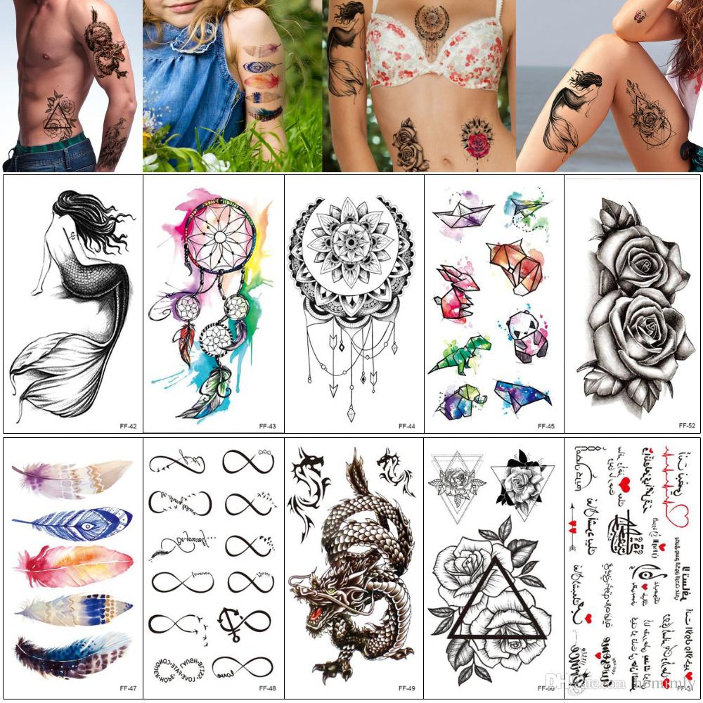 Fake Black Temporary Tattoo Sticker Mermaid Dreamcatcher Cat Feather Dragon Designs Body Art Tattoo for Woman Man Water Transfer Paper FF#02