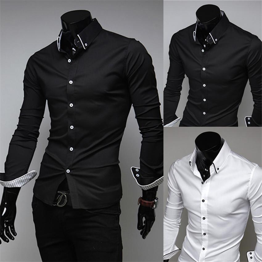 Toptan-İlkbahar Erkek Gömlek Moda Lüks Katı Renk Casual Gömlek İnce Uzun kollu Gelinlik Gömlek Erkekler Camisetas