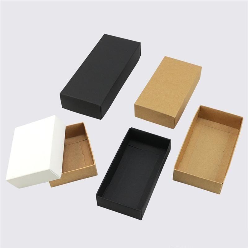Коричневый / белый / черный крафт-бумага подарок Картонная коробка ремесло Упаковка коробка черного бумаги Подарочная коробка с крышкой подарков коробки картонные коробки