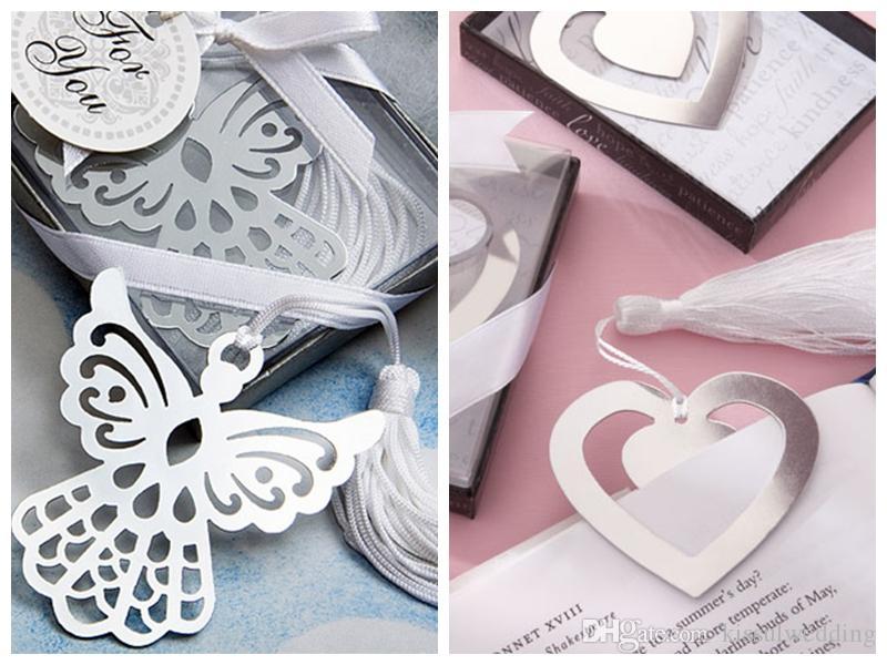 (10 adet / lot) Gümüş Love Angel Parti Favors için Elegant İpek Tassel'dan Bookmark Şeklinde Love Story Gümüş-Finish Kalp Düğün Hediyeleri