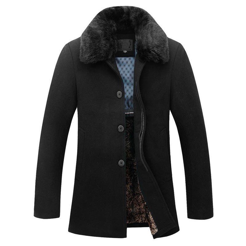 Uomo Casual Warm Slim Fit inverno soprabito Mens Pea Coat Manteau Homme pelliccia Cappotto degli uomini Nizza marca di marea di disegno Giacche