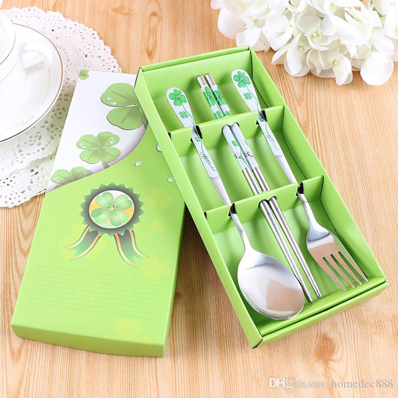 Wedding Gift Stainless Steel Dinnerware Sets Custom Printing Chinese Style Wedding Gift Durable Chopstick Spoon Dinnerware Set DH0040