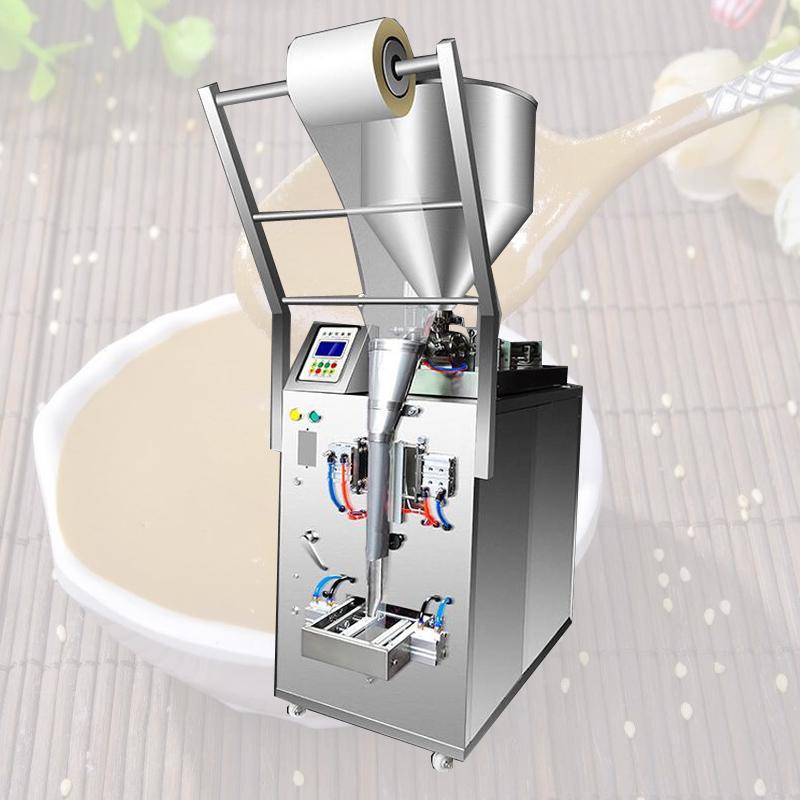 500W Yeni sosu biber sosu zeytinyağı krem, üç taraflı bir conta arka conta dolum paketleme makinesi domates fıstık ezmesi paketleme makinesi