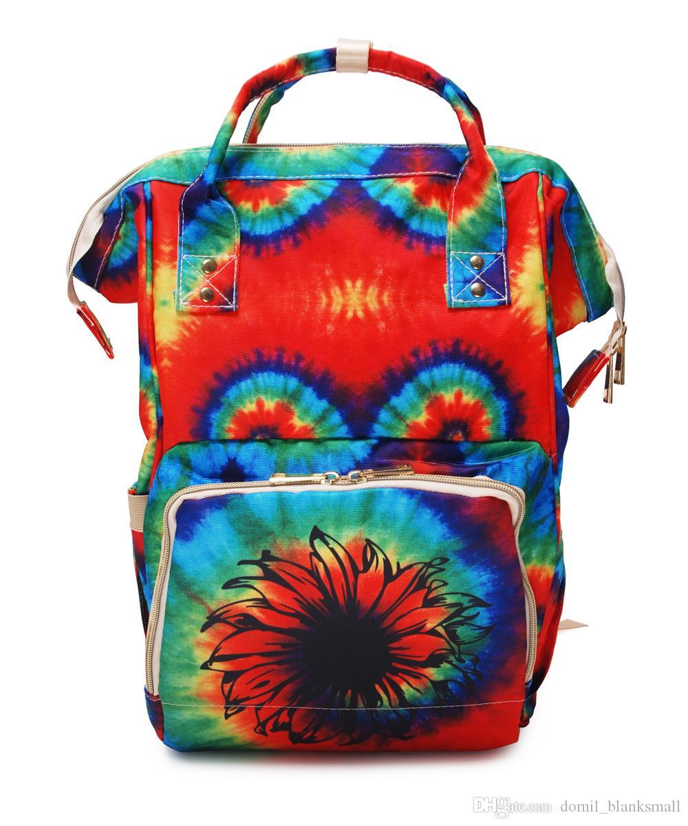 Fornecedor Atacado Tie Dye Diaper Bag Sunflower Nylon Diaper Mochila Waterproof Canvas Diaper Múmia Bag DOM-1081276