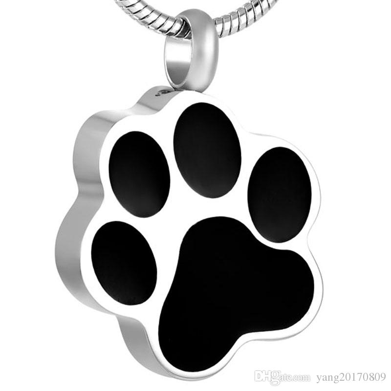 IJD8451 PET DOG / CAT PAW PRINT ACERO INOXIDABLE PARA ASHES CREMACIÓN URN Colgante Collar Collar Memorial Joyería Colgante