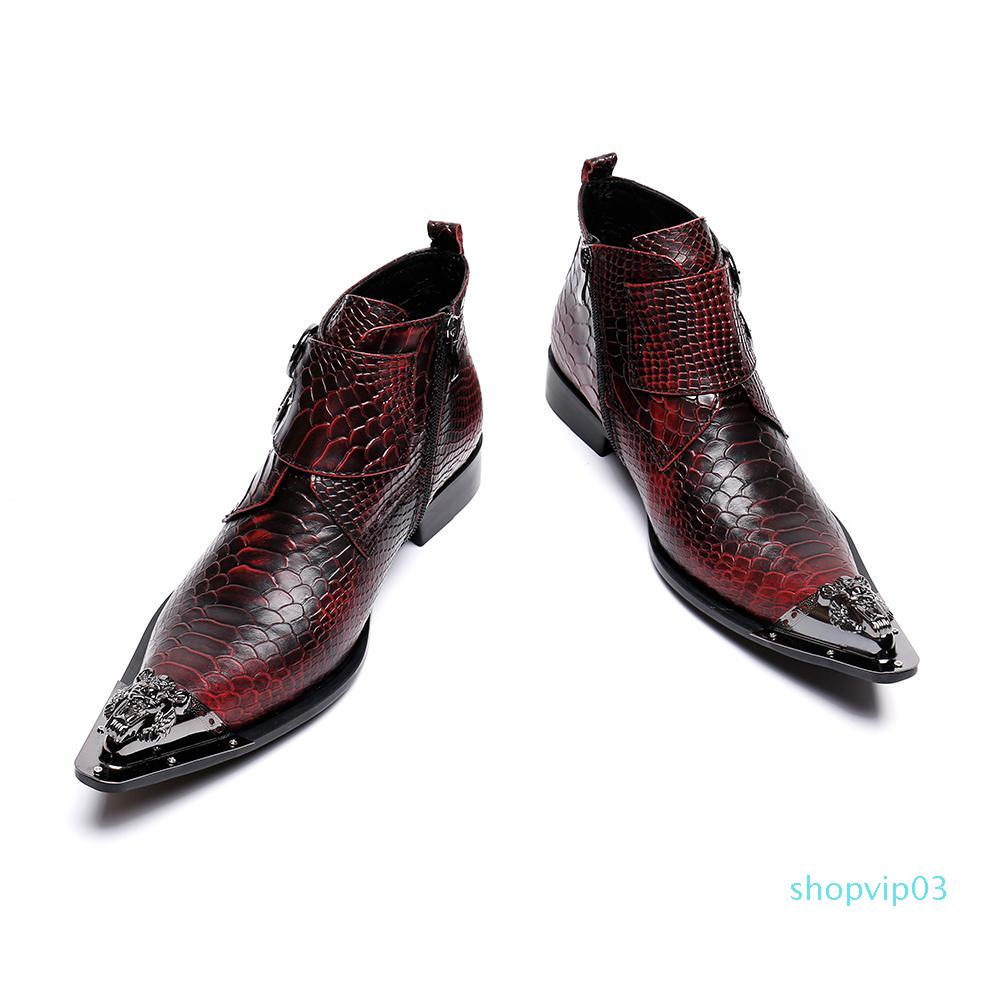 Hot Sale- Bella Snake Skin Genuine Leather Men Office Shoes Fashion Large Size Metal Pointed Toe Zipper Formal Party Dress Shoes