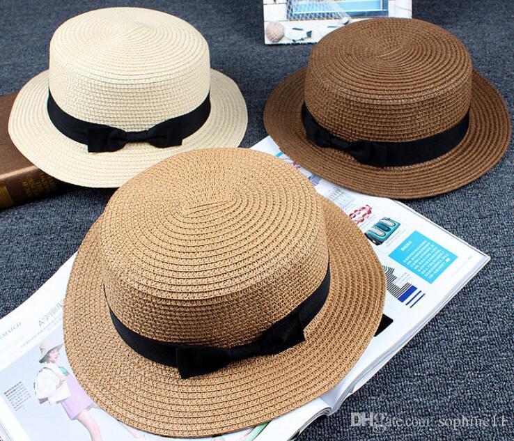 Sun Hat Cute Children Sun Hats Bow Hand Made Women Straw Cap Beach Big Brim  Hat Casual Glris Summer Cap Birthday Party Cap Birthday Party Caps From