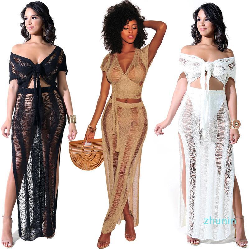 Forma-Mulheres Two Piece Outfits Prairie Chic Knit oco Out Bikini Tassel Beach Dress + manga curta envolvido no peito menina Swimwear partido