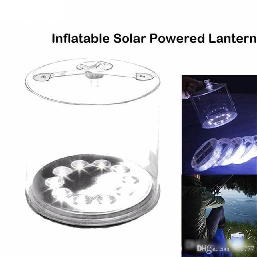 New Outdoor 10LED Camping Solar Powered Foldable Inflatable Portable Light Lamp for Garden Yard Solar Light Solar Light Outdoors