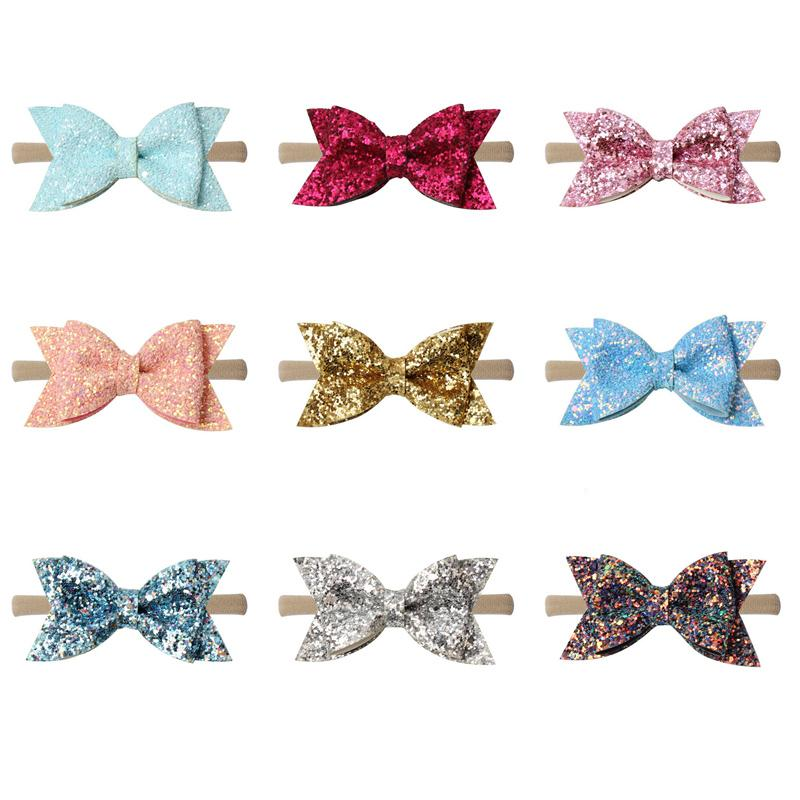 Baby Girls Sequins Hairband 3.5 Inch Bows Leather Nylon Headband Kids Boutique Solid Thick Ribbon Nylon Hair Band Baby Accessories 060521