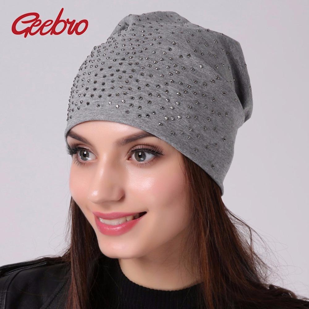 Geebro Brand Women's Rhinestones Slouchy Beanie hat Spring Casual Plain Color Cotton Hat For Women Bonnet Female Skull Beanies Y18120302