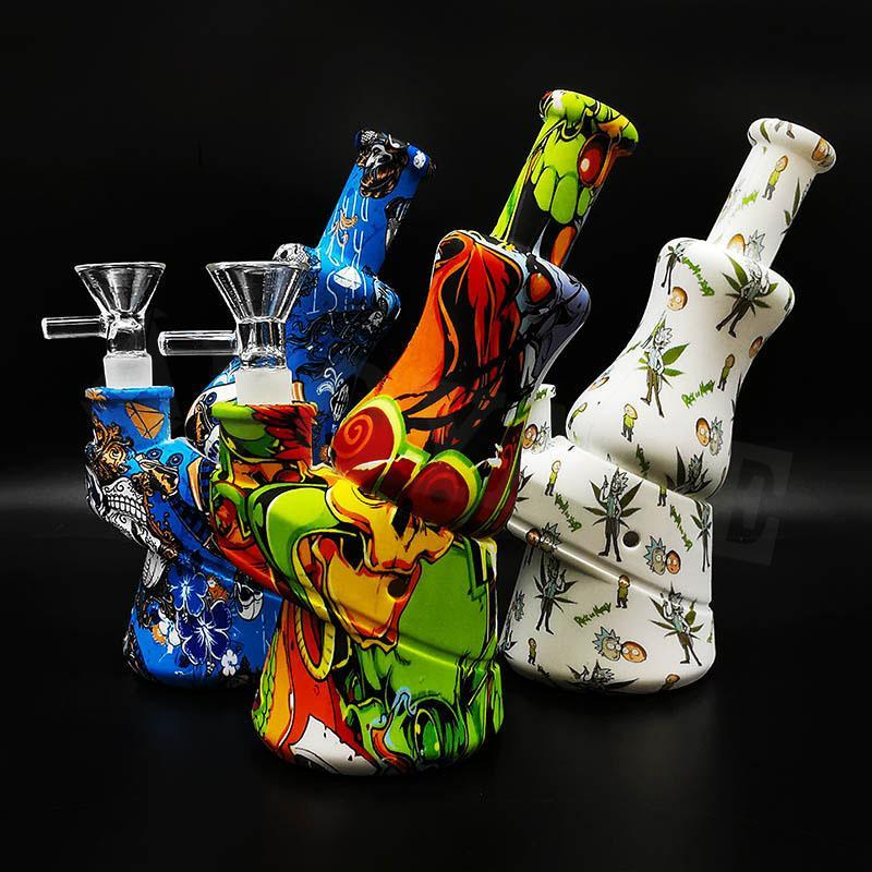 2020 New Printing Silicone Bong water Pipe silicone bongs pipe colorful With Silicone water smoking pipes DHL