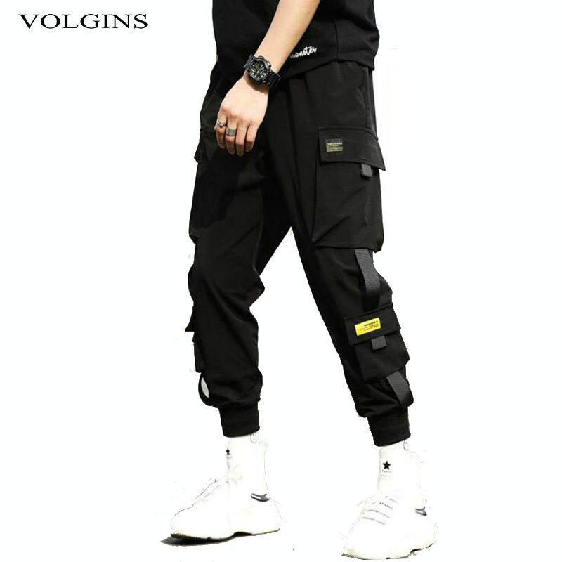 Streetwear Hip Hop Black шаровары Мужчины эластичный пояс Панк штаны с лентами Повседневный Тонкий Jogger Брюки Мужчины Hip Hop Брюки CX200604