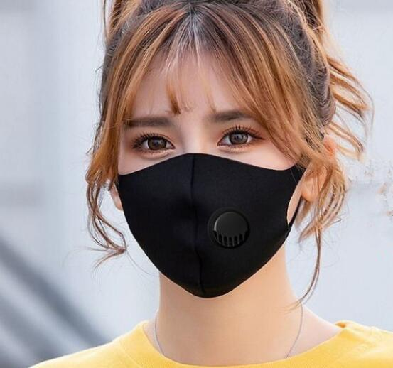 Ice Silk Face Mask With Breathing Valve Washable Mask Reusable Anti-Dust PM2.5 Protective Masks Recycle Mouth Designer Mask GGA3303