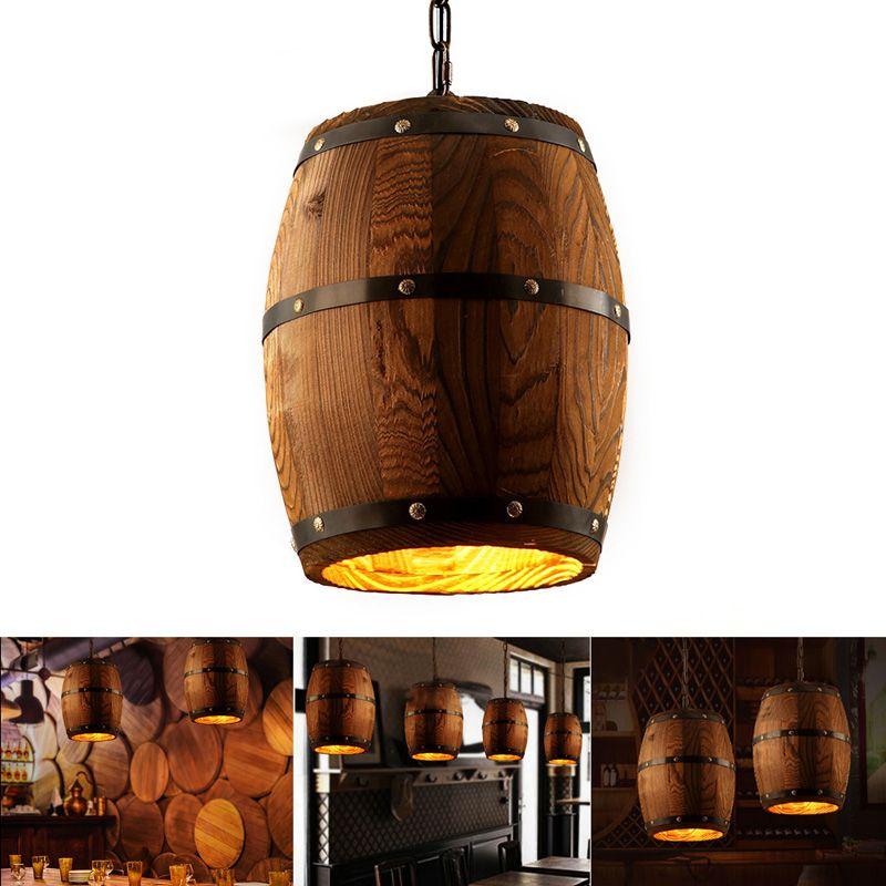 1 قطع الخشب النبيذ برميل معلق تركيبات الإضاءة قلادة مقهى مطعم برميل مصباح بار مقهى أضواء غرفة الطعام