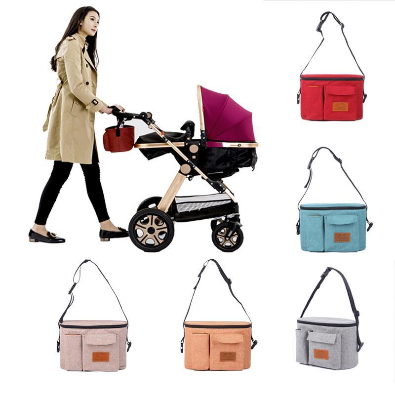 Black Mummy Baby Stroller Milk Bottle Storage Bag Cart Hanging Organizer Bags