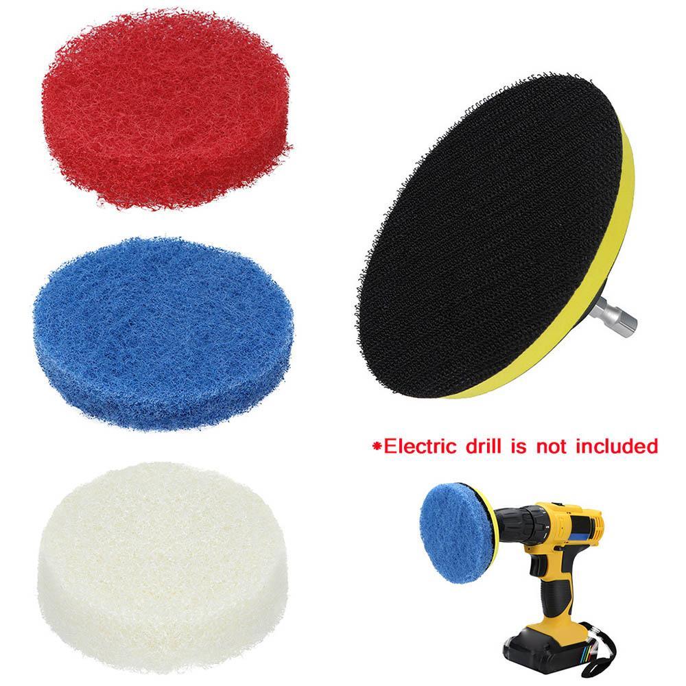 3x + 1x plaque Pads voiture Outils de polissage Puissance Scrubber Plastron électrique Entretien ménager Sofa salle de bains Carrelage fartage Kit