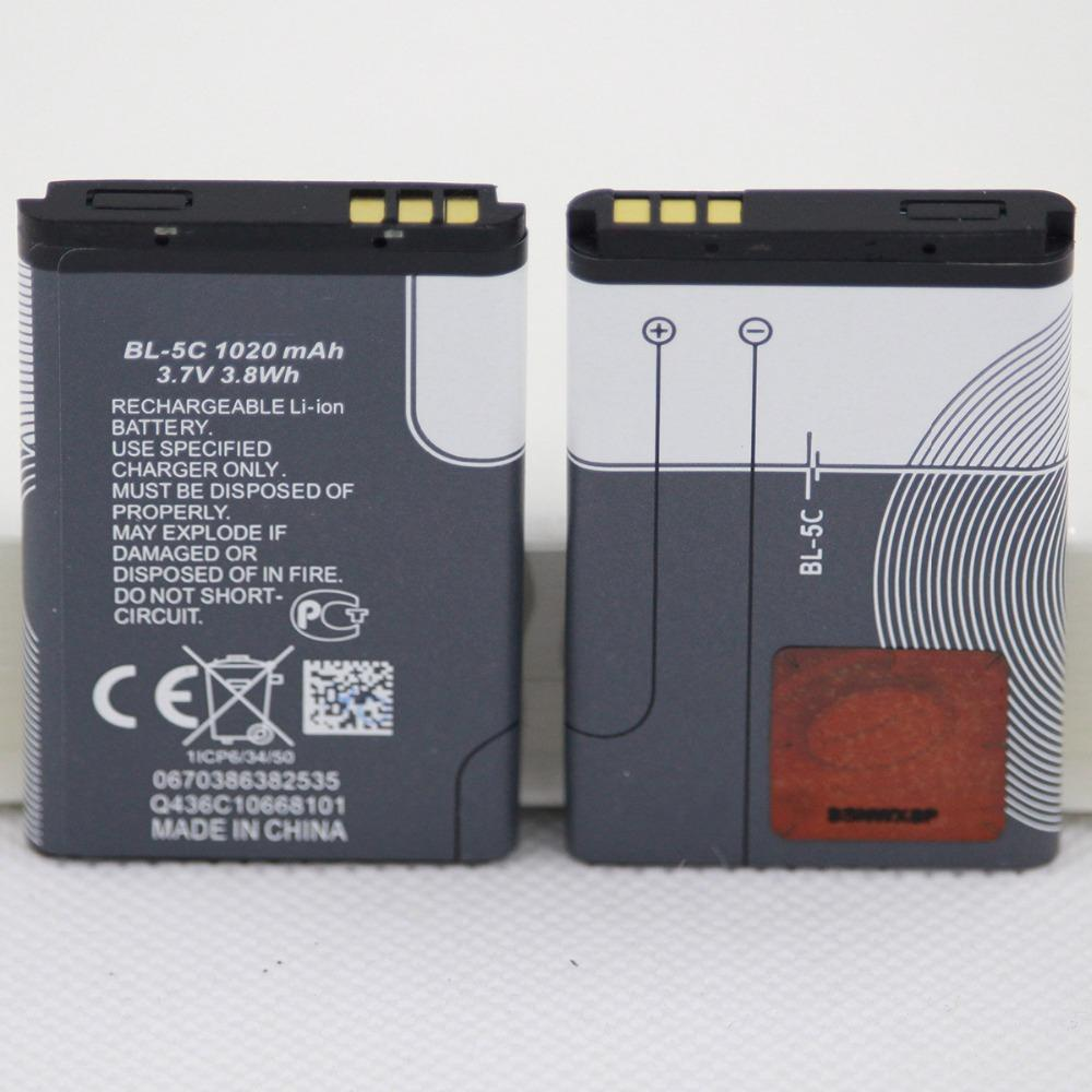 1020mah BL 5C بطارية الهاتف المحمول لBL-5C 1100، 1110، 1200، 1208، 1280، 1600، 2600، 2700، 3100 3110، 5130، 6230، 6230I بطاريات