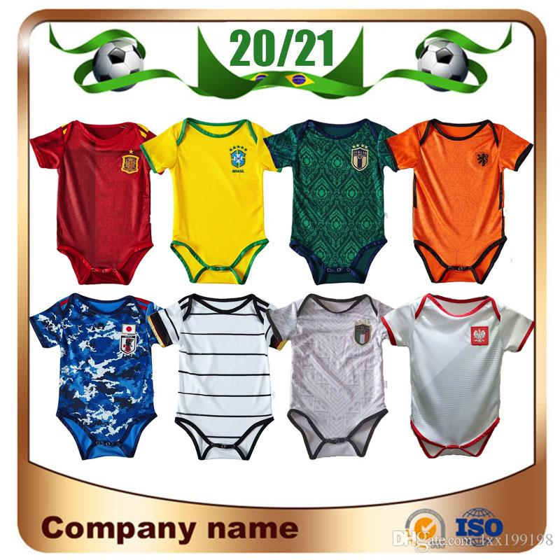 20/21Baby national team soccer jerseys Brazil Spain Italy Japan Netherlands poland kits shirt 9-18 Months 20/21 Child Football Uniforms