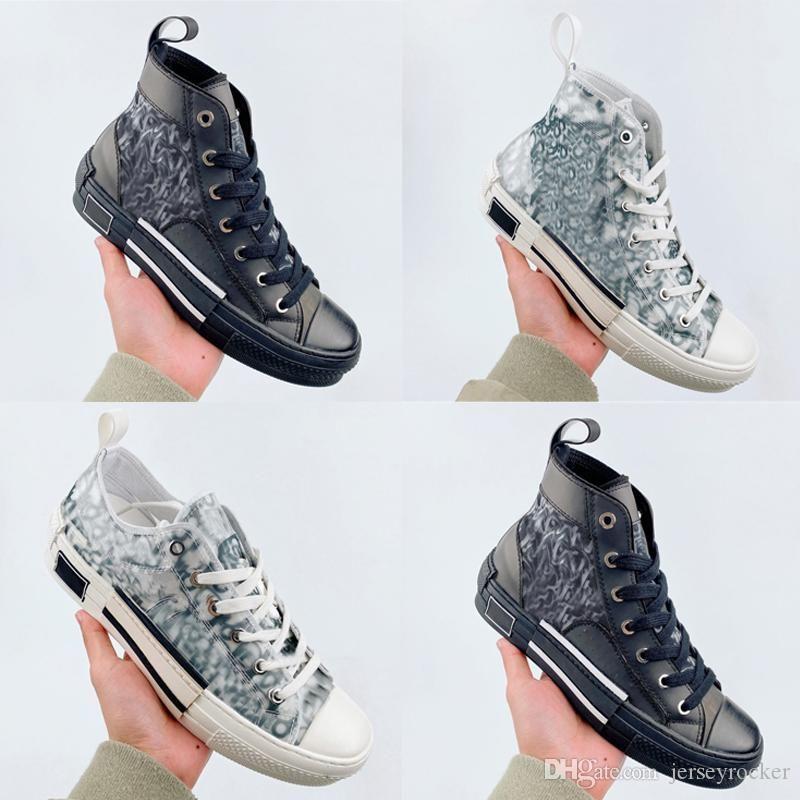 Vintage Top cheaps 19FW B23 B24 Oblique High Low Shoes Casual Sneakers Plataforma dos homens de couro de luxo Calçados da forma das mulheres Trainers Tamanho 36-44