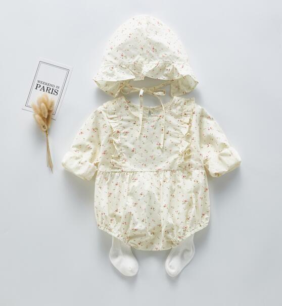 ملابس INS الربيع طفلة رومبير كم طويل ليتل طباعة زهرة جولة الياقة رومبير + قبعة 100٪ القطن فتاة طفل الملابس 0-2T