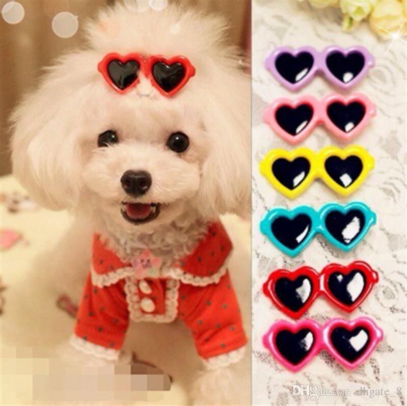 Pet Sunglasses Hairpin Headdress Plastic Small Dog Hair Clip Puppy Head Flower Headdress Dogs Love Heart hair accessories 10 Colors LYW1208