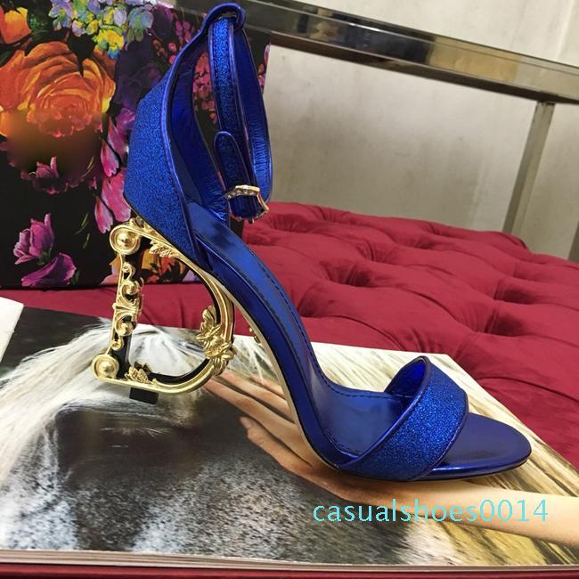 Neueste Frauen-Sommer-Sandelholz viele Farben Lettets Heel-Sandalen Schuhe sexy 10.5CM Absatz-Goldkleid Schuhe Größe 35-42 Echtes Leder C14