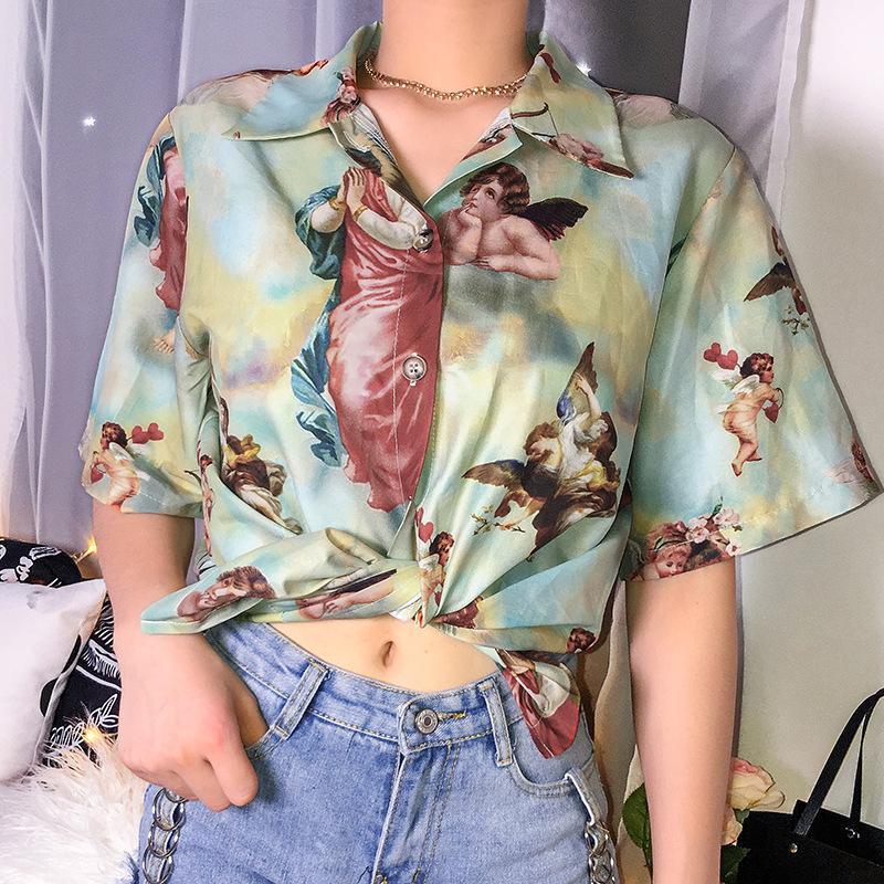 Vintage T-shirt des femmes dames L'ange Imprimer Top Shirt Femme Streetwear demi manches longues blouse bleue Vêtements d'été pour femme S-L