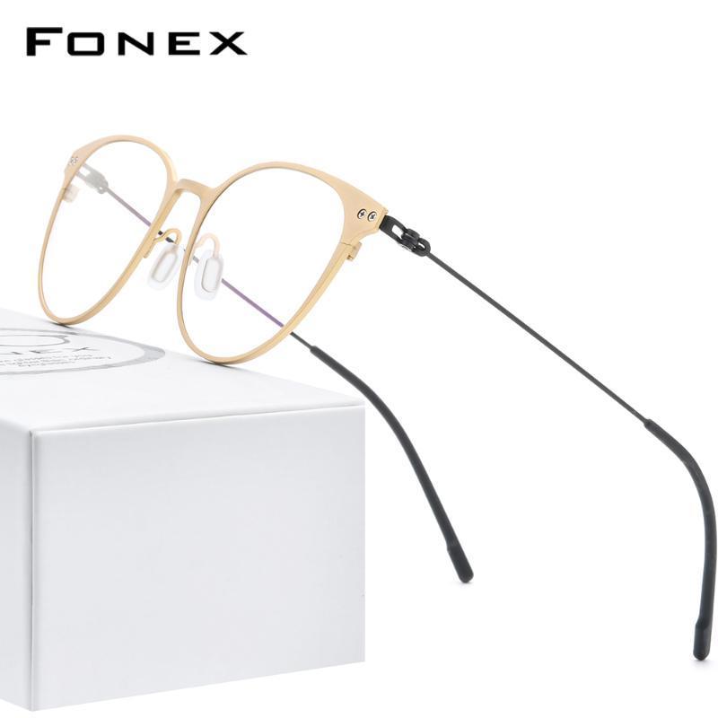 FONEX puro marco Titanium de los vidrios de las mujeres de la vendimia redonda Miopía prescripción óptica marco de la lente de los hombres 2020 sin tornillos Eyewear 8533