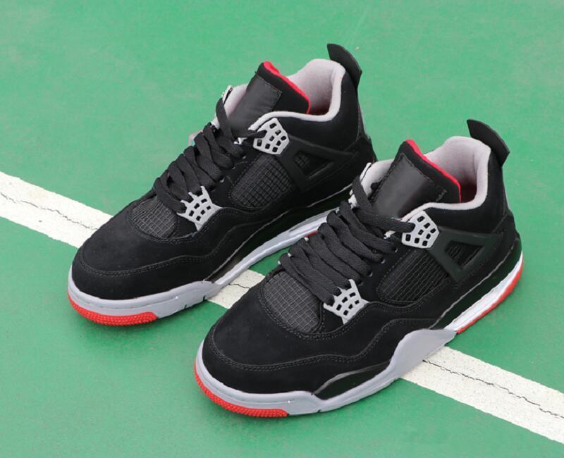 Cemento 2020 Lanzamiento 4 Negro Gris Hombre Rojo Fuego diseñador zapatos de baloncesto confort lujo 4 Bred Moda Deportes zapatillas de deporte con la caja original