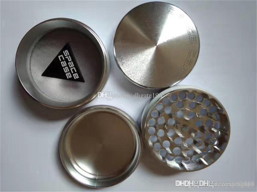 Wholesale Black/Sliver 63mm SPACE CASE® 4pc Aluminum Herb Grinder smoking cigarette detector grinder Tobacco grinder VS sharpstone