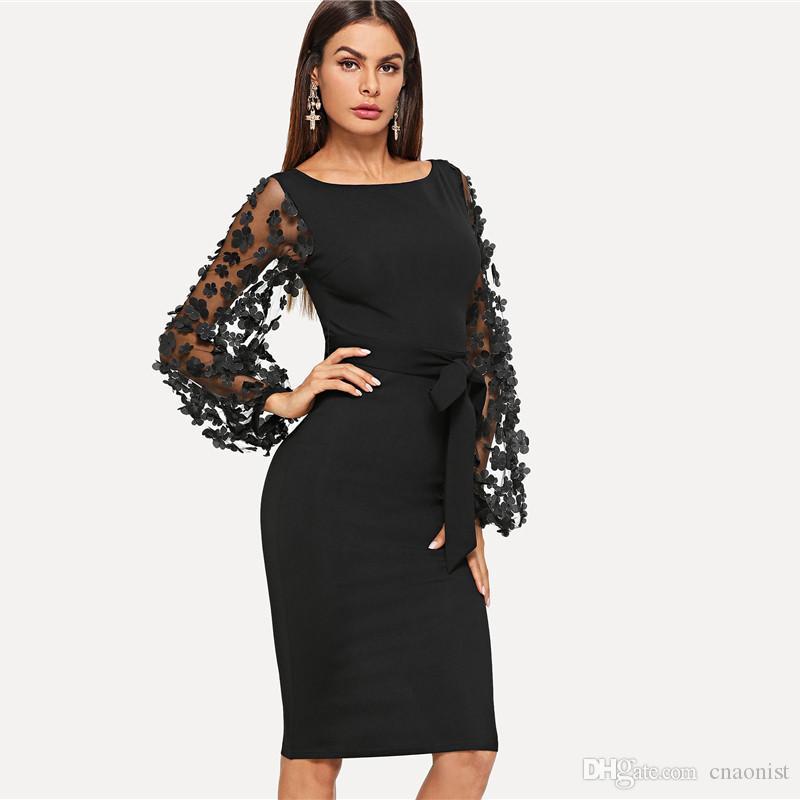 Fashion Solid Women Dresses 2019 Black Party Elegant Womens Dresses Flower Applique Mesh Sleeve Dress Woman Sashes Slim Vestidos