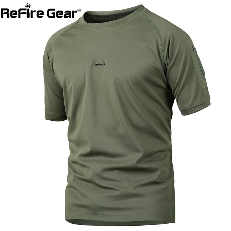 Refire Gear Summer Tactical Camouflage T Shirt Men Quick Dry Army Combat T-shirt Casual Breathable Camo O Neck Military T Shirt Y19050701