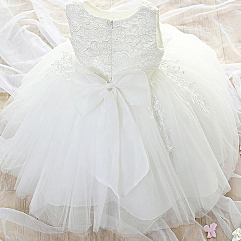 Newborn Baby Girl Dress Party Dresses For Girls 1 Year Birthday Princess Dress Lace Christening Gown Baby Clothing White Baptism Y19050801