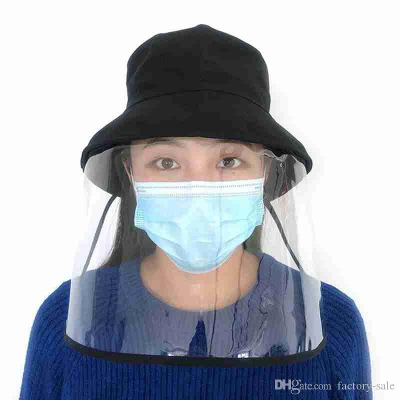 Alta calidad nuevo diseño Tapa protectora Pescador sombrero anti Aislamiento saliva Máscara grande del borde de los sombreros del pescador máscara de polvo tapa protectora contra el sombrero de la máscara