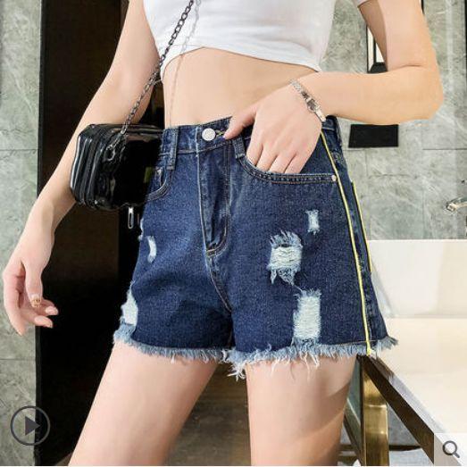 Dark Blue Hole Bull-puncher femminile di moda Su Liu Harajuku Hot Pants Marea Di Gamba Son Una Parola