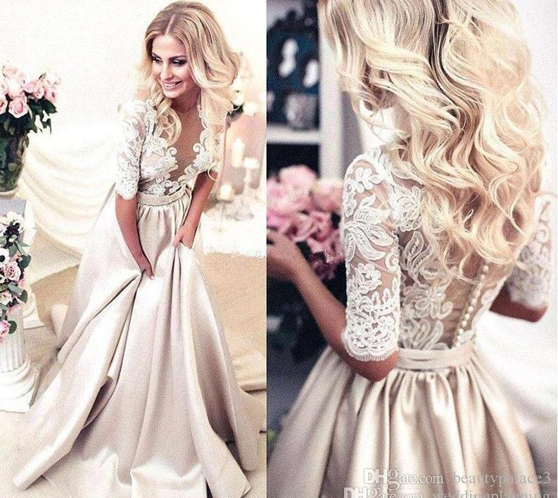 Stylish Chinese Handmade Half Sleeves Prom Dresses Applique Covered Button Back Lace Evening Long Dresses Junior Skinny Girl Party Gowns