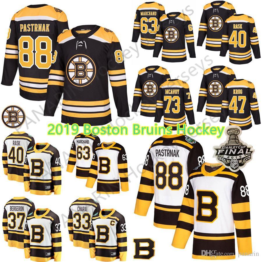 2019 neue Stanley Cup Herren Boston Bruins Hockey 33 Zdeno Chara 37 Patrice Rask 63 Brad Marchand 88 David Pastrnak Hockey Trikots