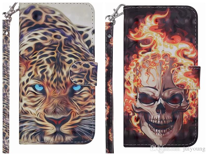 3D Skull Tiger Leather Wallet Case For Iphone 11 XS MAX X XR XS 8 7 6 5 SE Panda Dog Rose Flower Butterfly Wolf ID Slot Pocket Holder Pouch