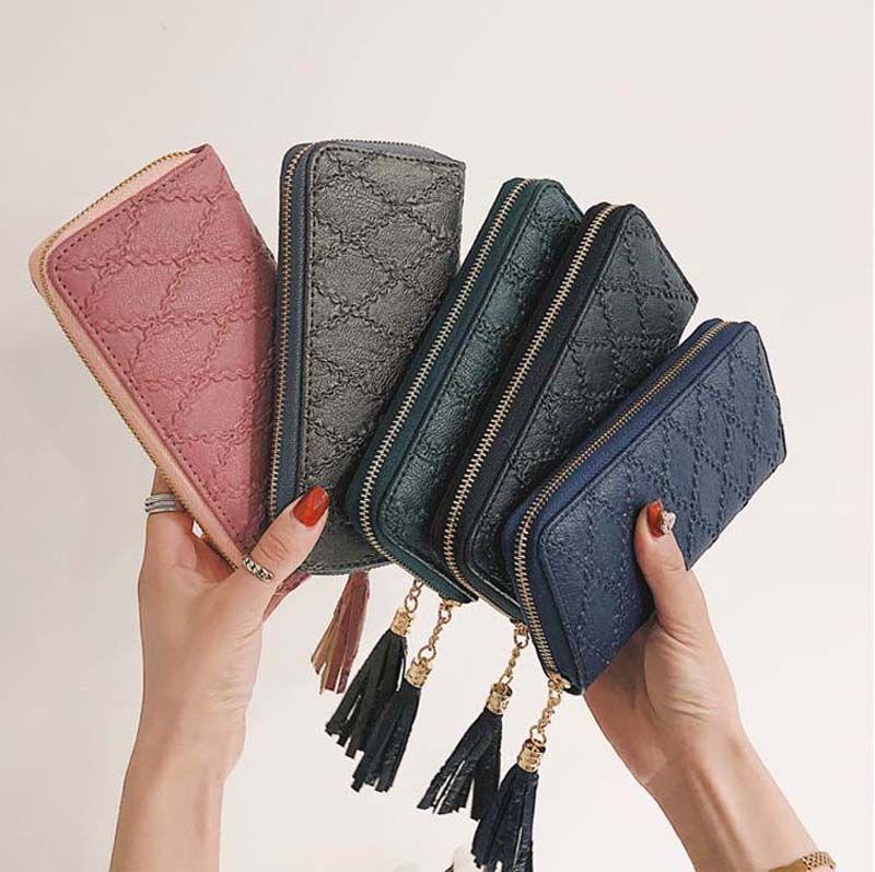 50pcs DHL Yeni Uzun cüzdan PU cüzdan kadın cüzdan moda Ringer fermuar çanta çoklu kart cep telefonu bozuk para cüzdanı