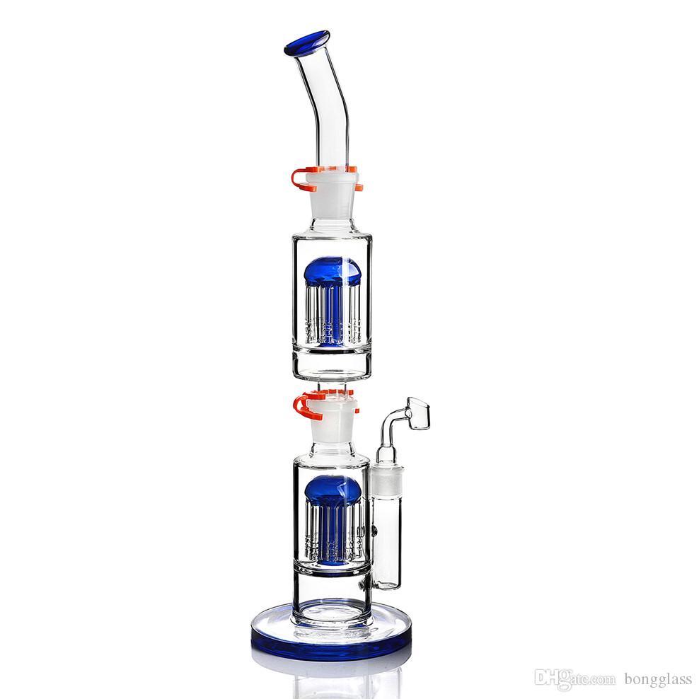 17.7 인치 유리 버블 러 독특한 봉수 물 파이프 리사이클 오일 굴착기 18mm Banger와 두꺼운 유리 물 봉