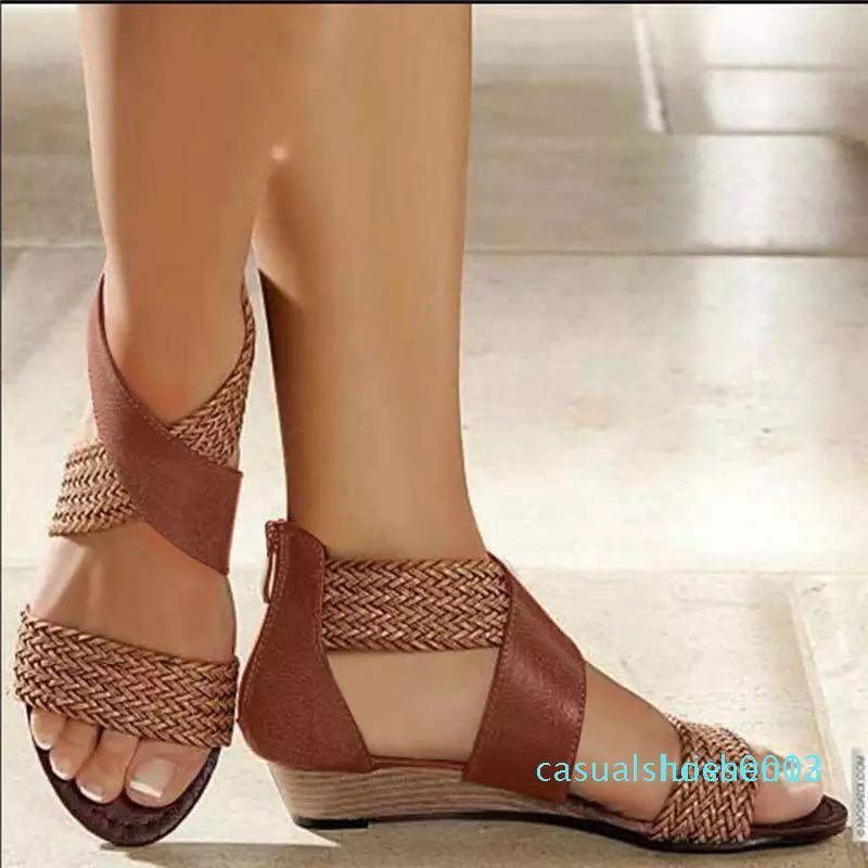 Pelle della bocca dei pesci della tela di canapa donne Weave Wedge Heel Shoes Zipper Sandali casuali della spiaggia dei sandali romani Scarpe L03