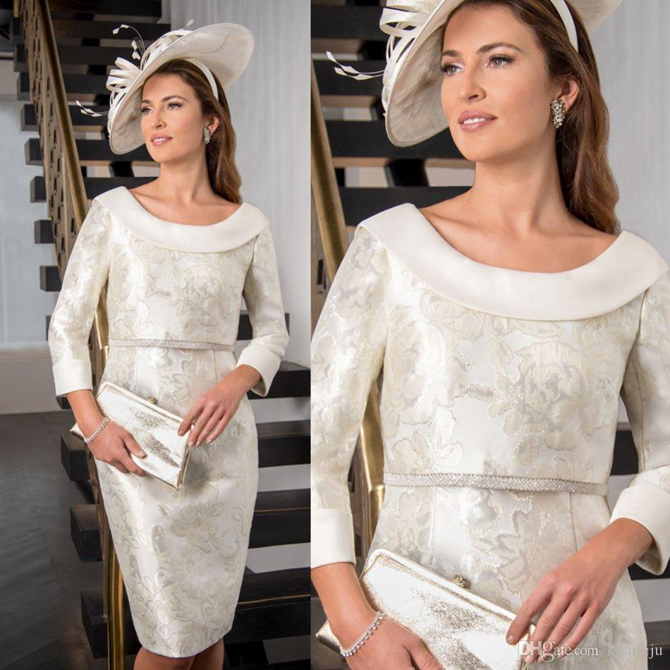 2020 Mãe Formal modesta do vestido de noiva de cetim com lantejoulas Applique Mãe Vestido Vestidos Jewel Neck personalizado