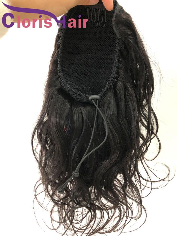 Coda di cavallo di estensioni dei capelli peruviani di Remy dell'onda del corpo umano Capelli coulisse ponytails con clip nelle donne a buon mercato sulla Ad Neri Ondulati Coda di cavallo naturale