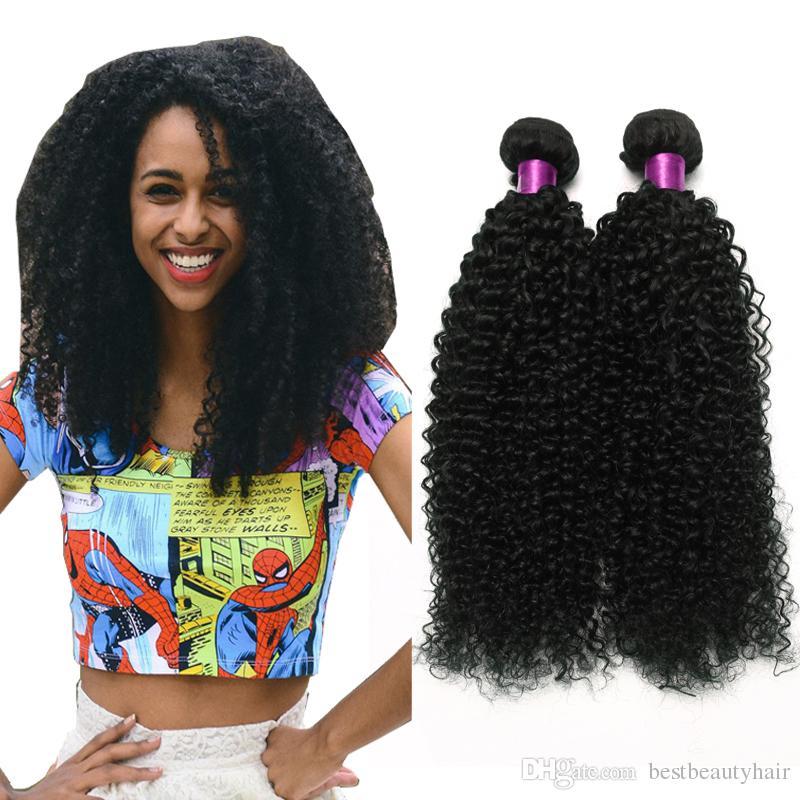 4 개 몽골어 브라질 변태 곱슬 머리 직물 번들 아프리카 몽골어 변태 곱슬 인간의 머리 확장 브라질 변태 곱슬 머리 씨실