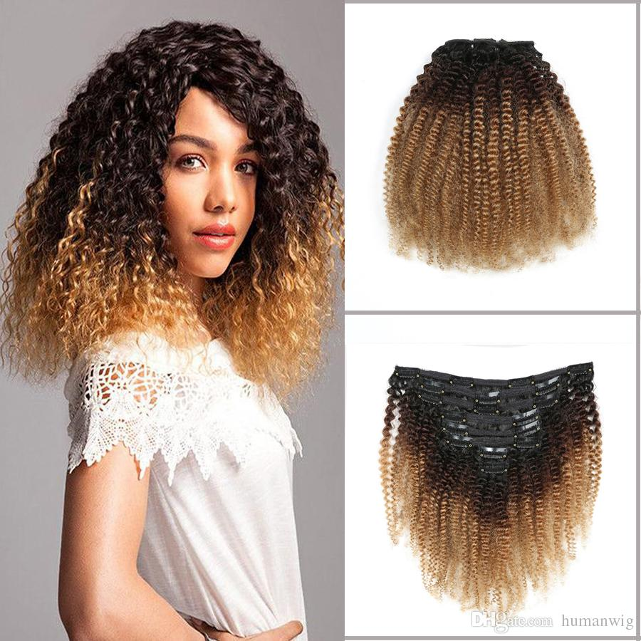 Clip Curly Hair Extension Clip In Afro Kinky Curly Hair 3 Tone Ombre Hair 1b/4/27 120g/Pc Factory Price Wholesale