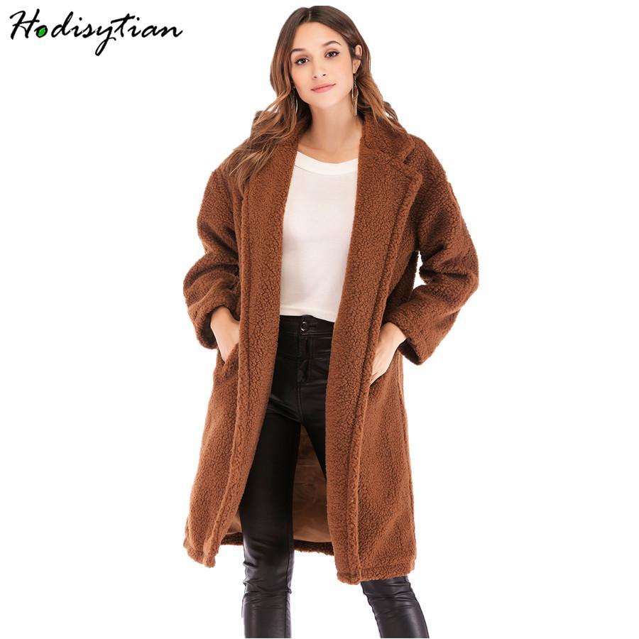 Hodisytian Winter Women Faux Lambswool Trench Coat Blazer Collar Overcoat Warm Wool Blends Camel Female Hairly Velvet Outerwear