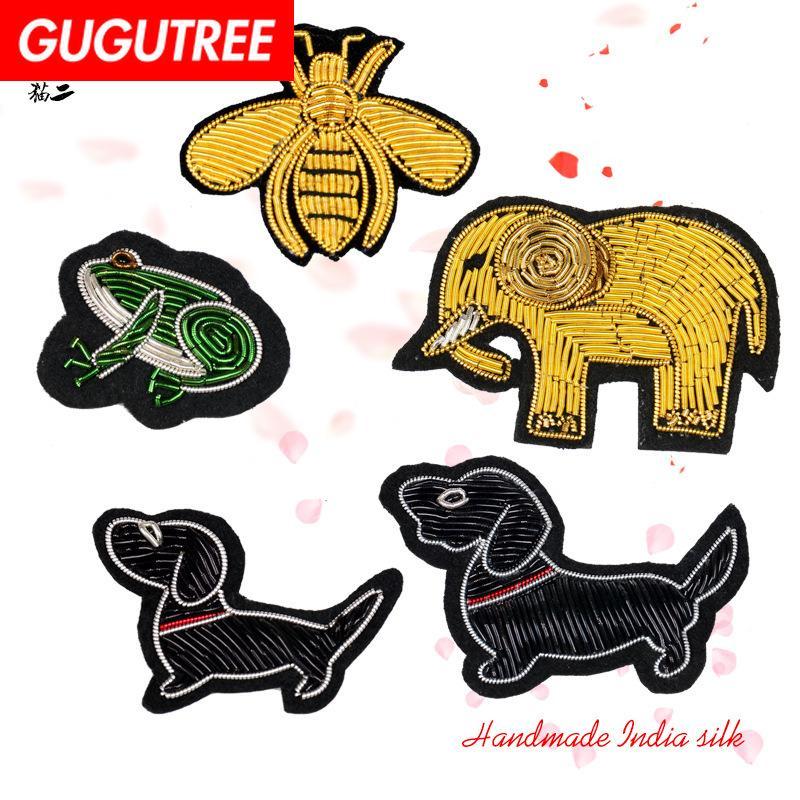 GUGUTREE Hindistan ipek nakış köpekler giyim için kurbağa yama hayvan karikatür yamaları rozetler aplike yamaları arı SK-1