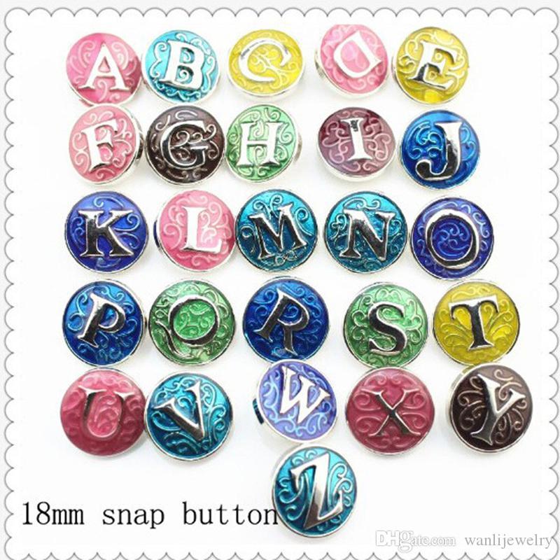 Initiale Lettres d'émail coloré Alphabet snap Bijoux 18mm Bouton en métal emboîtée Bracelet Mélange en gros